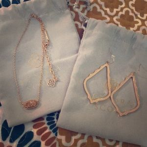 Rose Gold Kendra Scott necklace and earring set